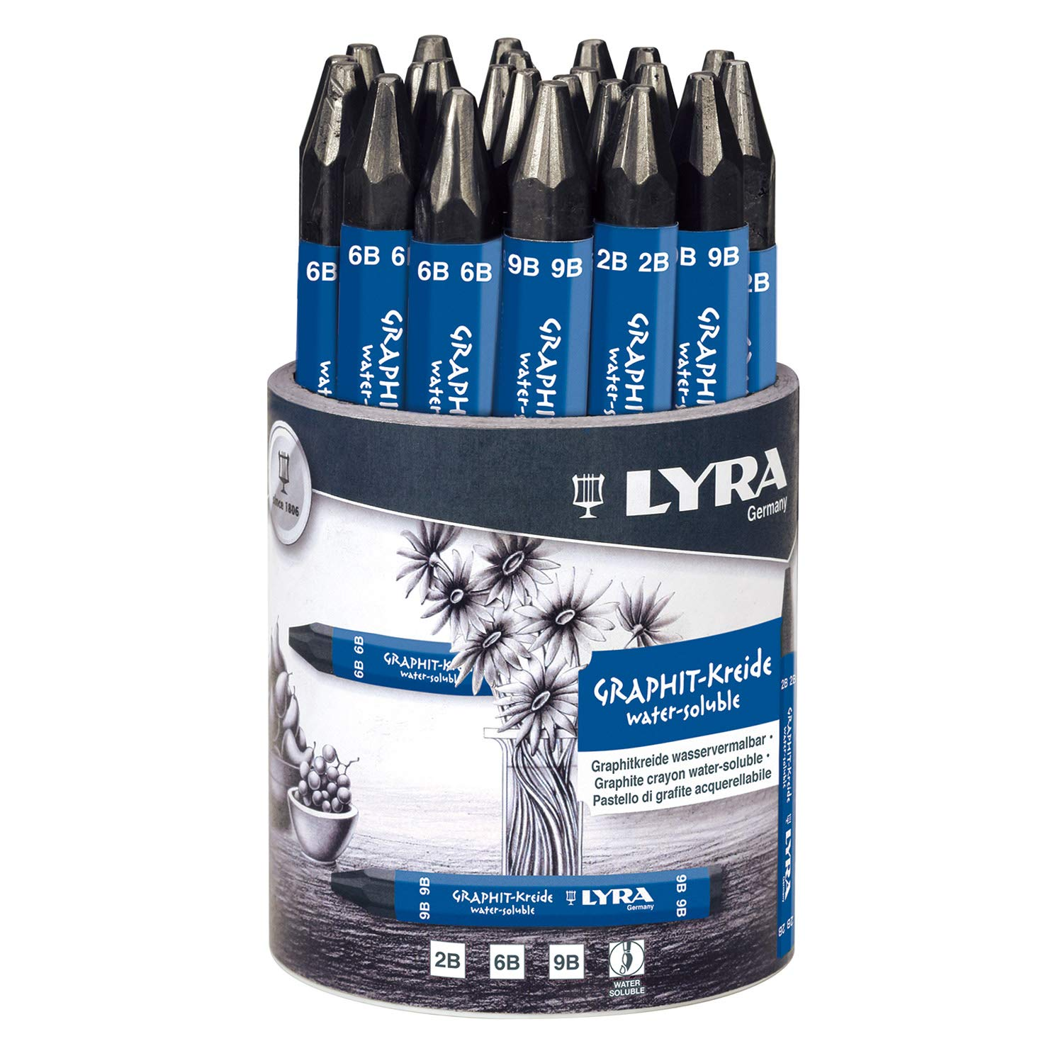 LYRA Graphite Crayons, Assorted Degrees, Water-Soluble, Set of 24 Crayons, Black (5633240)