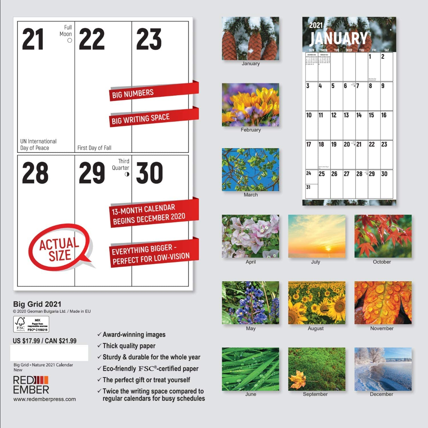 2021 Hangable Wall Calendars by Red Ember Press The Big Grid Jumbo Large Print- Beauty of Nature Thick /& Sturdy Glossy Paper 12 x 24 When Open Beautiful Nature /& Double the Writing Space