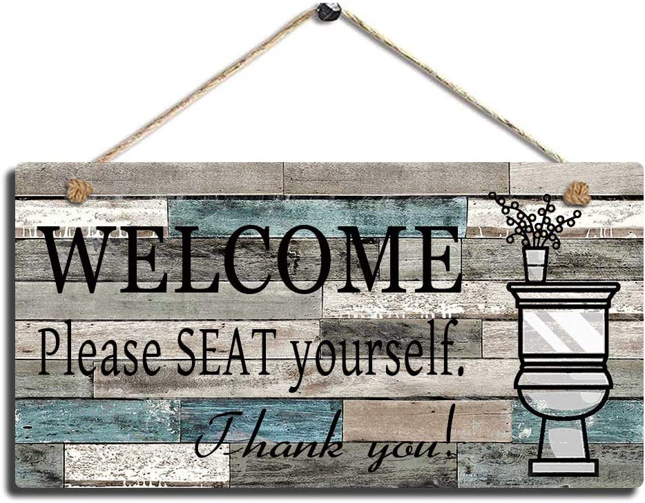 "SAC SMARTEN ARTS Printed Wood Plaque Sign Wall Hanging Welcome Sign Please Seat Yourself Wall Art Sign Size 11.5"" x 6"" (Blue-Black)"