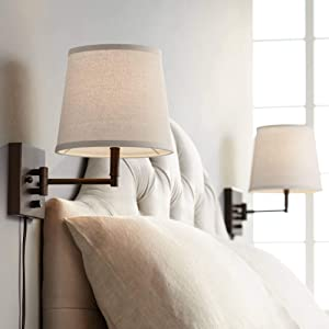 Lanett Modern Swing Arm Wall Lamps Set of 2 Painted Bronze Plug-in Light Fixture Oatmeal Linen Empire Shade for Bedroom Bedside Living Room Reading - 360 Lighting