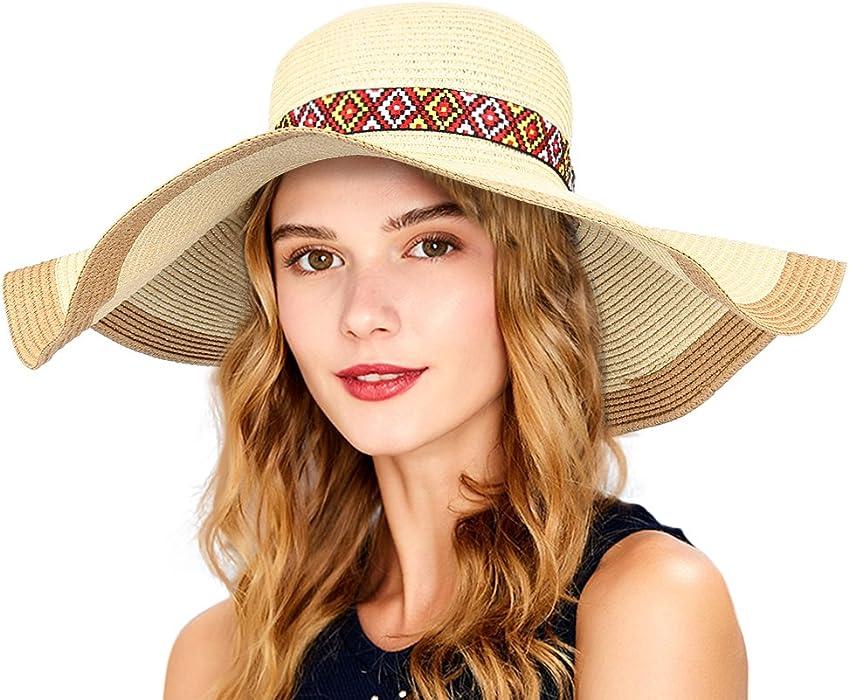 ccf5e8ea458 VBIGER Women Straw Sun Hat Foldable Large Brim Hat Floppy Hat Summer Beach  Hat With Detachable Ribbon Decor  Amazon.co.uk  Clothing
