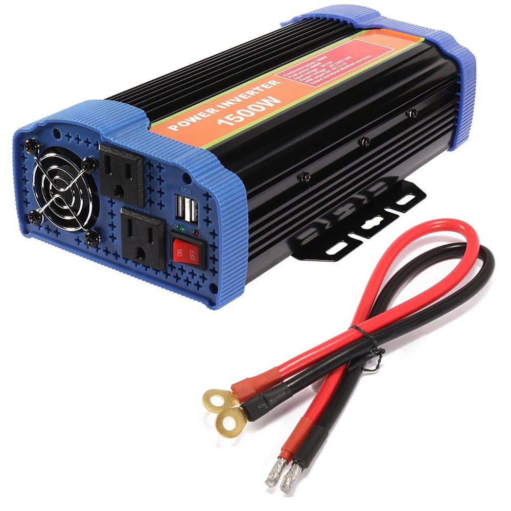 1500W Car Power Inverter DC 12V to AC 110V Inverter 3000 PEAK WATT INVERTER For for Laptop, Tablet, Smartphone and Other Household Devices