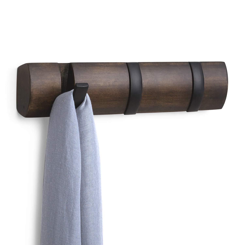 Barra para pared Umbra con 5 ganchos, madera, Black/Walnut, 28.257999999999999 x 6.9850000000000003 x 3.4929999999999999 cm