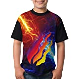 C-Emily Children's 3D Printed Preston Fire Nation Playz Gamer Flame T-Shirt Kids Teenagers Short Sleeve Shirts