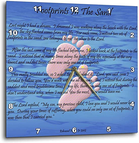 3dRose Footprints in The Sand with Childs feet – Wall Clock, 10 by 10-Inch DPP_63085_1