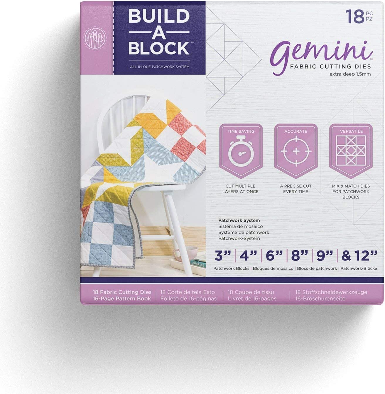 Silver Threaders GEM MD-BAB Bulld Gemini Patchwork System Build-a-Block Textile /& Fabric Patch Work Quilting Set