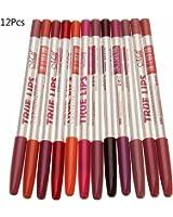 hosaire 12pcs/set matita a labbra matita Strumenti impermeabile Lip Liner trucco di lunga durata
