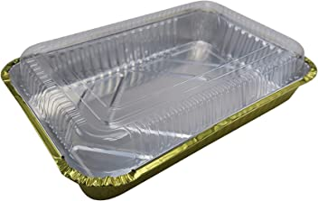 Red, 25 KitchenDance 1-1//2 Pound Disposable Colored Loaf Pans with Lids #1650