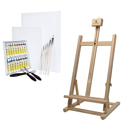 Artina Sydney - Set de pintura - Caballete de pintura de mesa (pino ...