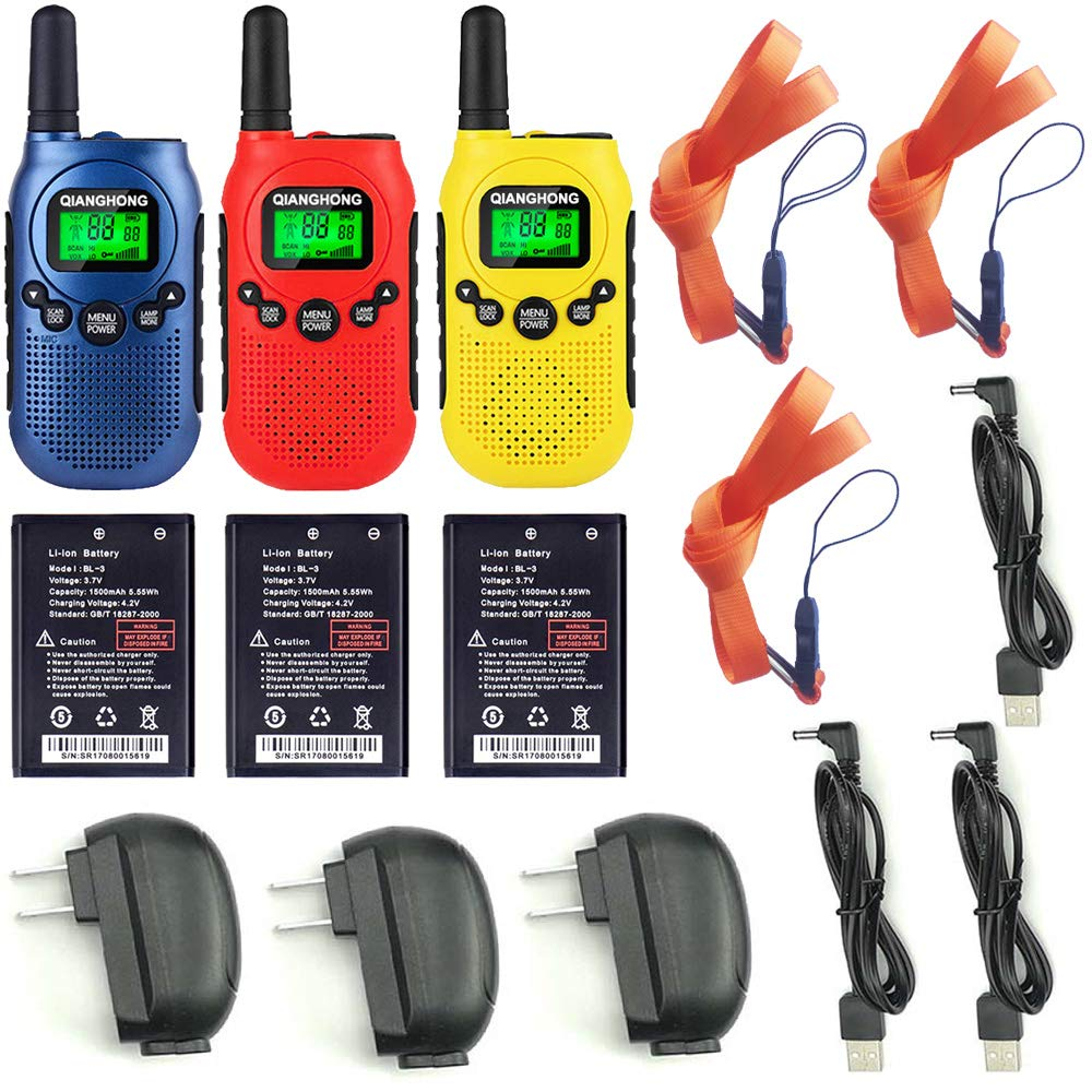 Qianghong Rechargeable Walkie Talkies for Kids Included Li-ion Battery and Charger (Red&Yellow&Blue) by Qianghong (Image #6)