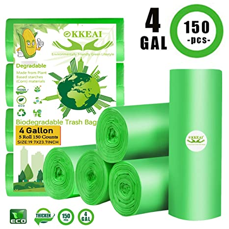 Bolsas de basura biodegradables de 150 unidades, 4 galones ...