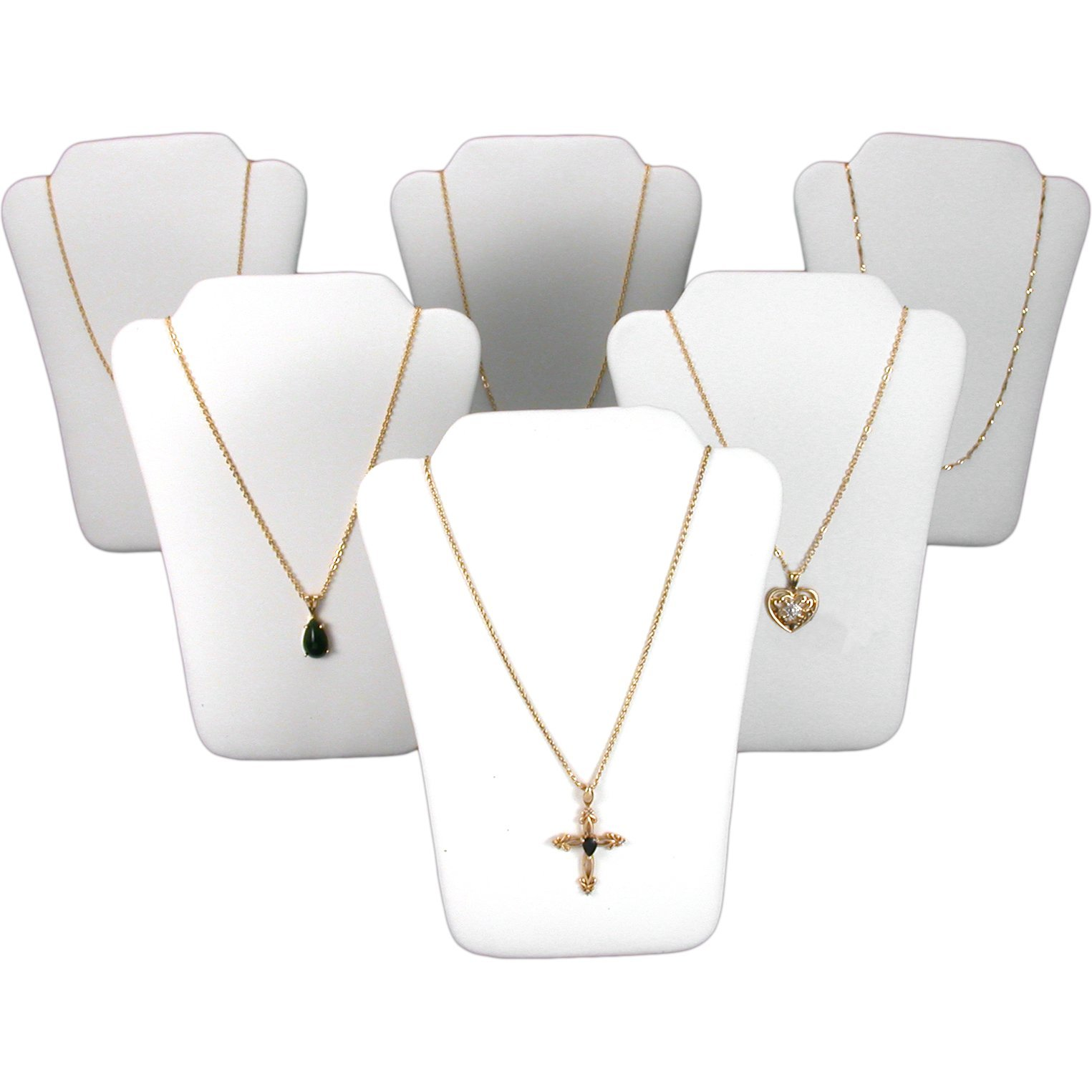 FindingKing 6 White Leather Chain Necklace Easel Jewelry Displays