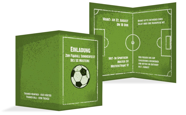 Einladung Einladung Einladung Sommerfest Fußballfeld, 100 Karten, Grasgruen B073H6NFTX | Starke Hitze- und Abnutzungsbeständigkeit  | Verschiedene aktuelle Designs  | Ausreichende Versorgung  470727