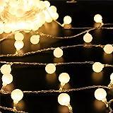 Décoration batterie 50 LED Globe Boule lumières pour arbres de Noël, Thanksgiving, jardin, Halloween, décoration Intérieur ou extérieur Décoration de fête d'anniversaire de mariage (Blanc chaud)
