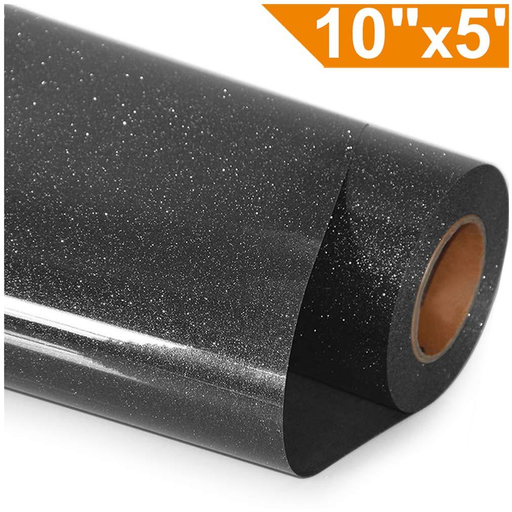ARHIKY Glitter Heat Transfer Vinyl HTV for T-Shirts 10Inches by 5 Feet Rolls(Black)