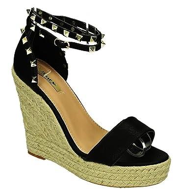 King Of Shoes Bequeme Damen Riemchen Keil Sandaletten Pumps Keilabsatz Wedges High Heels Peep Toes L5