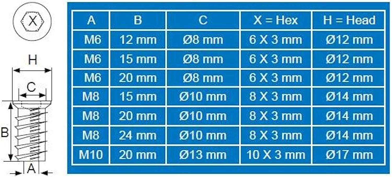 """100 x SO-TECH/® Tornillos Sin Cabeza /""""PROFI/"""" con Borde de Recubrimiento M6 x 15 mm Tuerca de Acero Galvanizado con Hex/ágono Interior"""