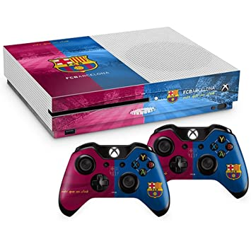 Oficial Barcelona FC Xbox One S carcasa para mando de consola piel y 2 x Combo