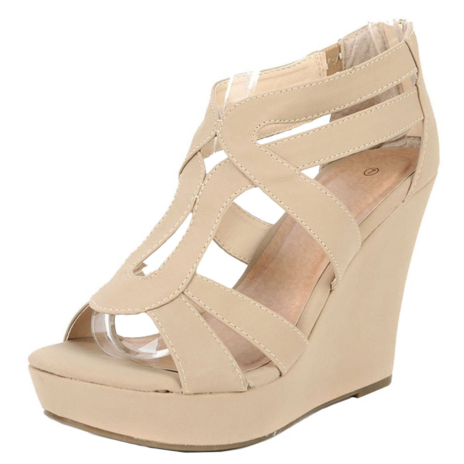 Top Moda Womens Lindy-3 Platform Sandals, Beige TS 8.5