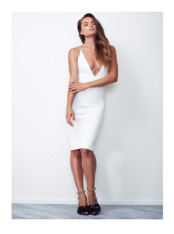 313e87eb723f Amazon.com  Maurie and Eve Aquila Dress - Women s Low Back Deep V Neck Midi  Dress  Clothing
