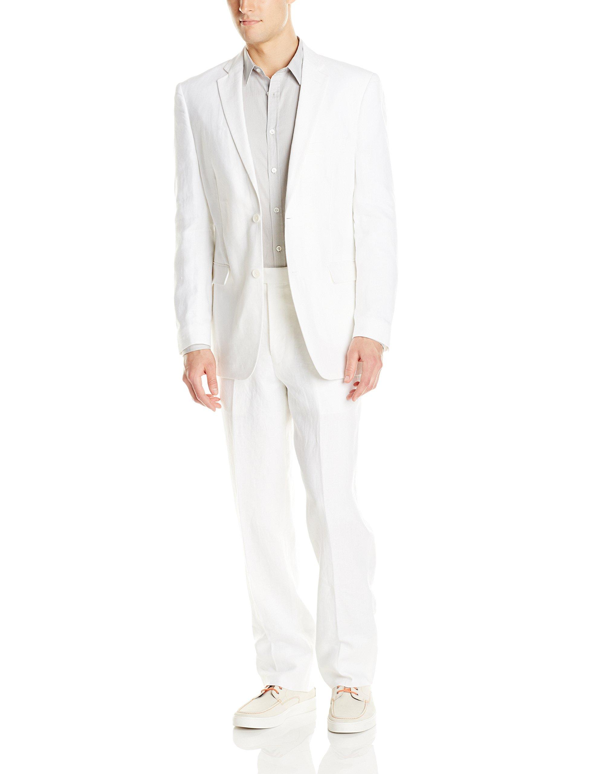 U.S. Polo Assn. Mens Linen Suit, RAD6001S White, 44 Long