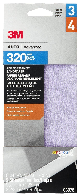 3M 03078 3-2/3'' x 9'' 320 Grit Premium Automotive Sandpaper (Pack of 20)
