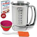 Stainless Steel Pancake Batter Dispenser Bundle with Measuring Label: For Baking Cupcakes, Waffles, Crepes, Muffins, Cake or any Battery mix with 6 Pack of Silicone Mold & Spatula 4 Cups by Utilwise