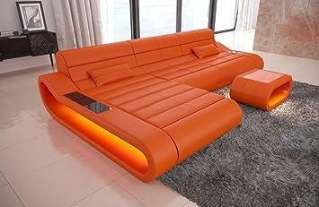 Couch Concept Leather L-Shaped Long Orange Sofa Corner Sofa ...