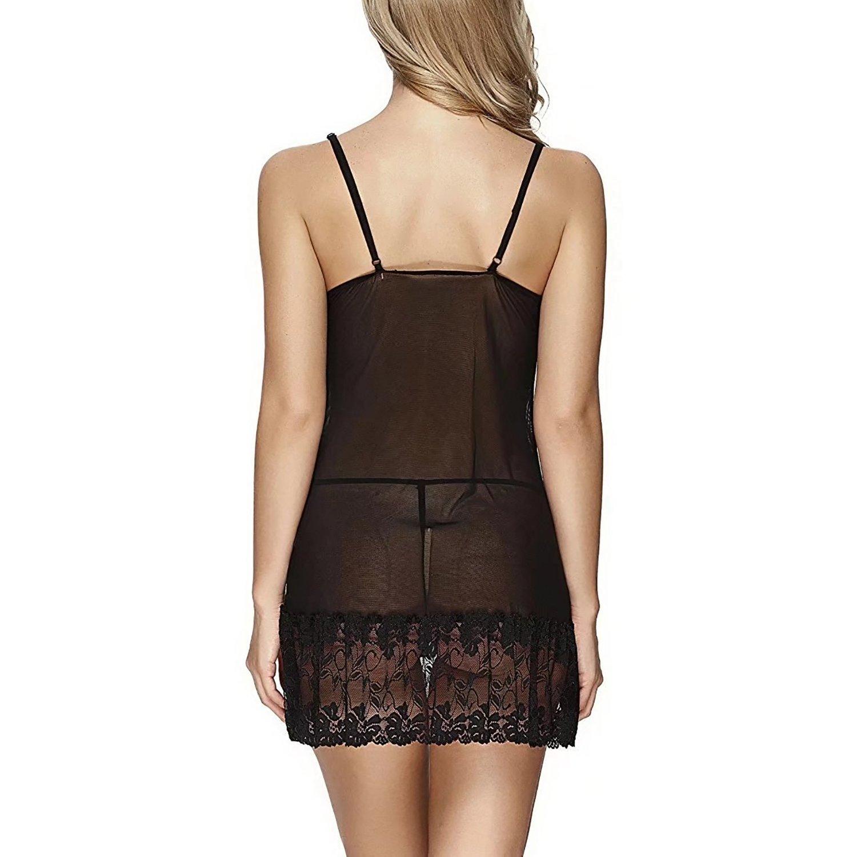 Gioia Chavez Women\'s Lingerie Bedroom Rest Sleepwear Lounge Nightwear Dress (Medium, Black)