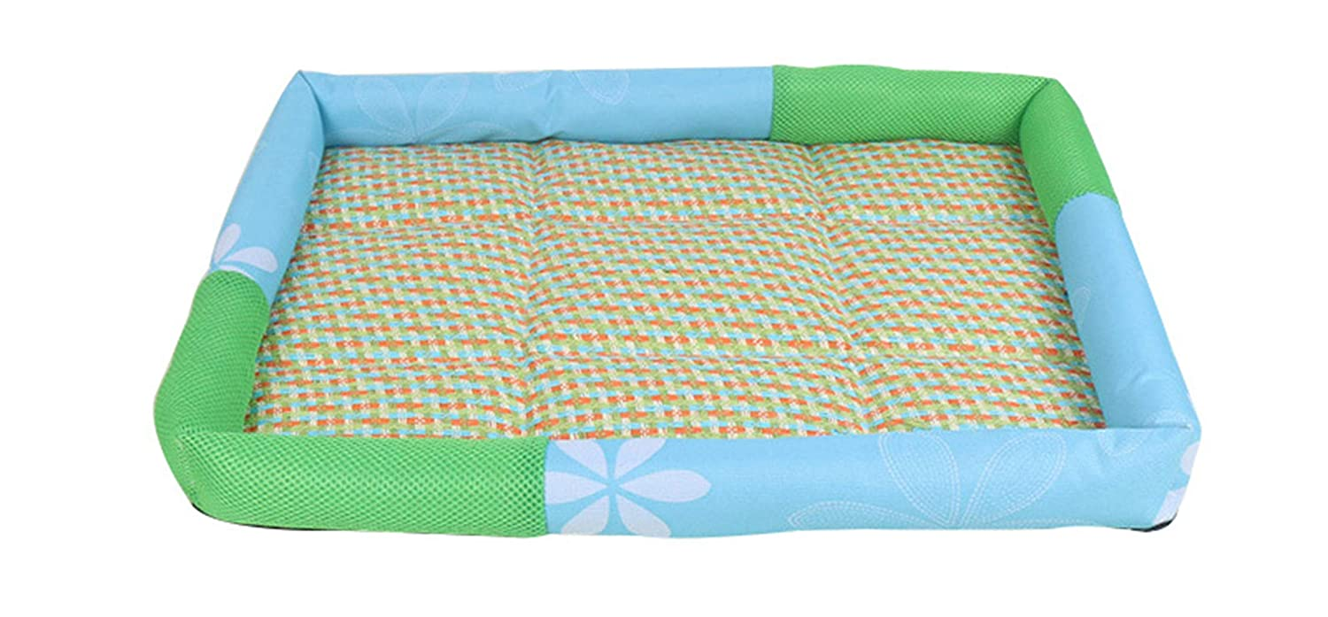 blueE L blueE L Pet Summer Dog Bed Mat,Cooling Rattan Cat Beds,Washable Oxford Puppy Cushion for Small Dogs S M L