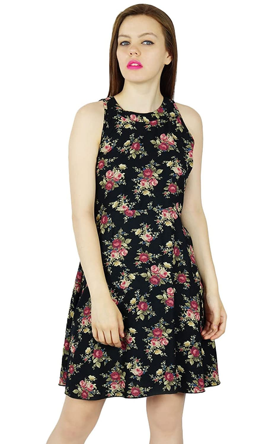 Bimba Women Black Floral Rayon Dress Sleeveless Classic Chic Summer Custom Clothing