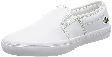 Lacoste Weiß Damenschuhe Gazon Slip On Weiß Lacoste Leder Casual Skate Schuhes ... 0712d6