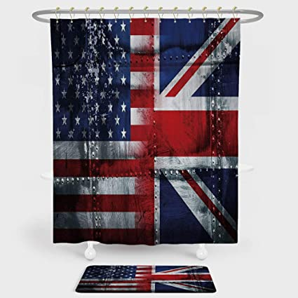 IPrint Union Jack Shower Curtain And Floor Mat Combination Set Alliance Togetherness Theme Composition Of UK