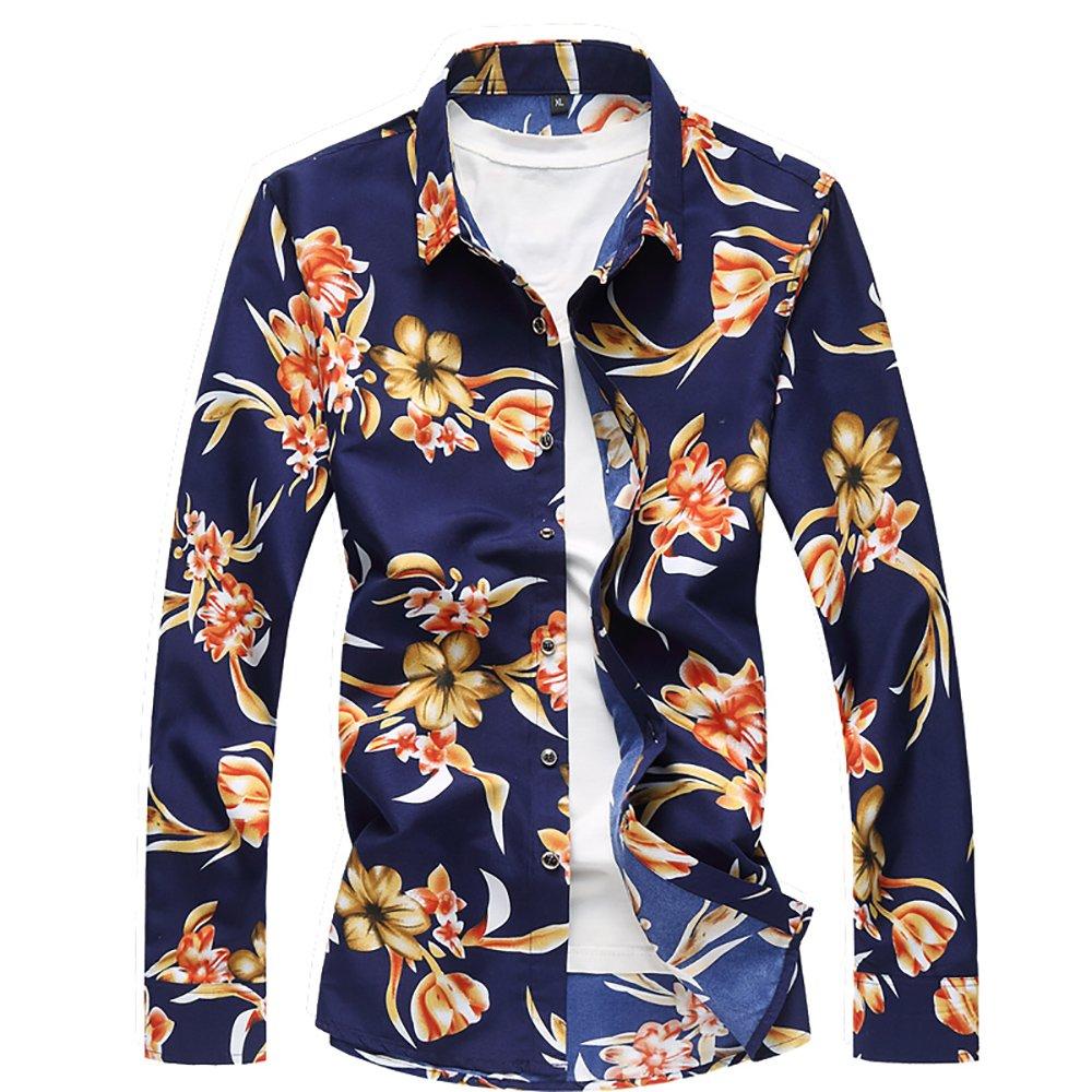 QZUnique Men's Cotton Shirts Long Sleeve Floral Shirts Casual Button Down Shirts Plus Sizes Yellow Flower XL