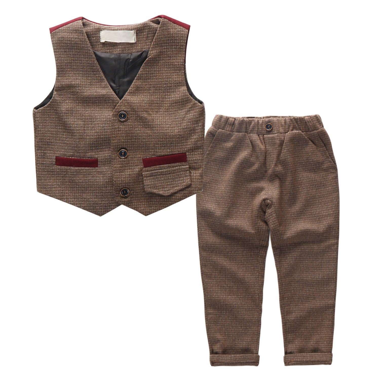 Coodebear Boys Cotton Button Mock Pocket Wedding Clothing Vests Pants Two Piece Suit