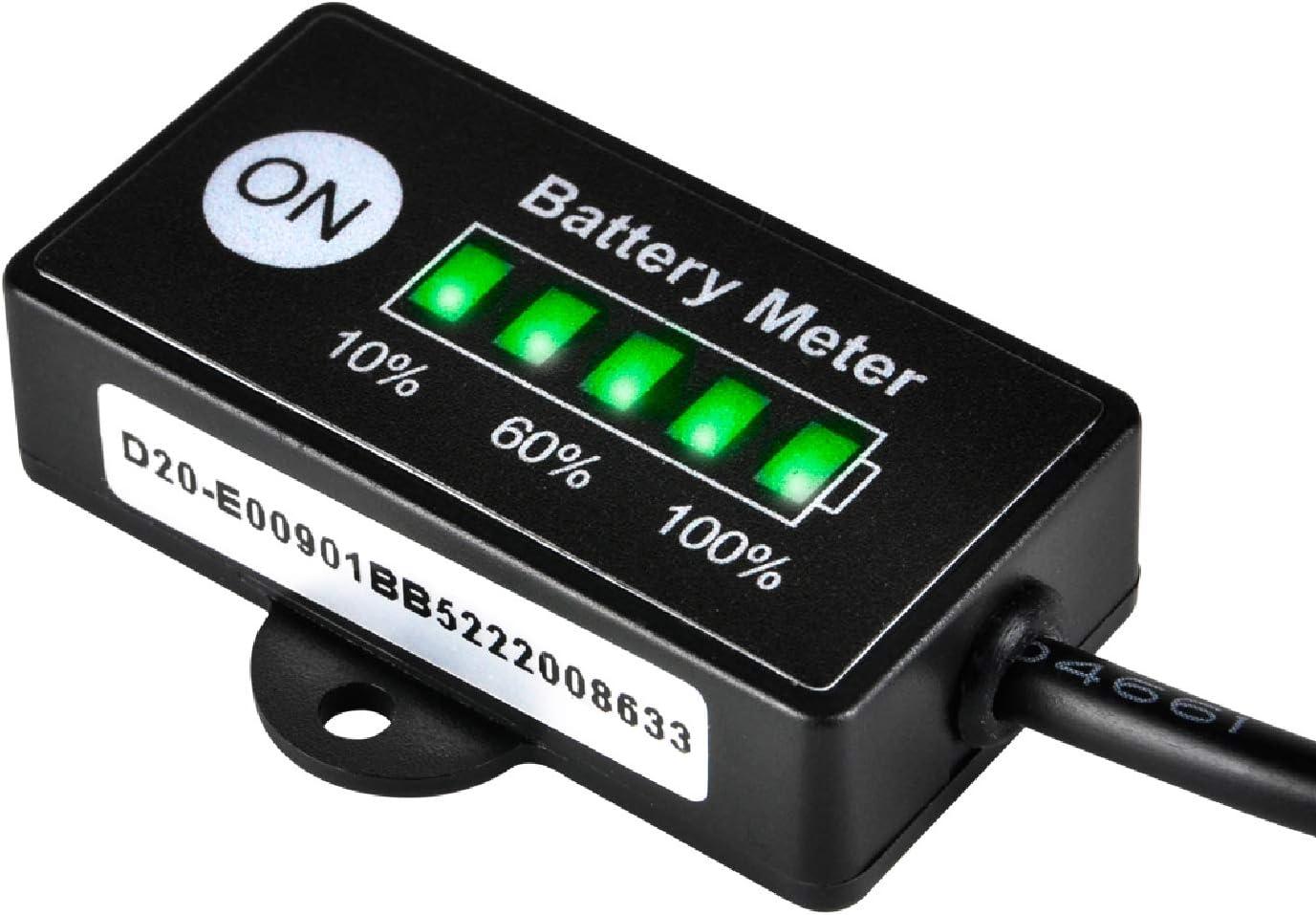 Jayron JR-BI005 Mini LED Indicador de batería Batería Indicadores de combustible para batería general 12V 24V (batería LiFePO4)