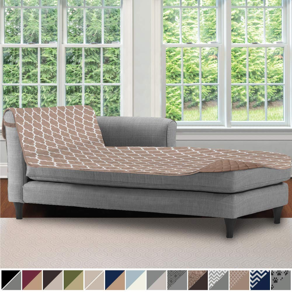 SOFA SHIELD Original Patent Pending Reversible Chaise Lounge Slipcover, 2 Inch Strap Hook, 102 Inch x 34 Inch Size Furniture Protector, Couch Slip ...