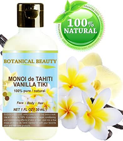 MONOI de TAHITI VANILLA TIKI OIL 100 % Natural / 100% PURE BOTANICALS. For