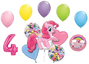 My Little Pony Pinkie Pie and Rainbow Dash 4th Birthday Party Supplies 12 Piece Mylar & Latex Balloons Set Latex and Mylar Balloon Set