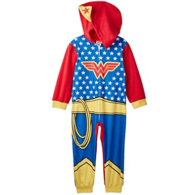 a51ecf6549 Wonder Woman Girls Hooded Fleece Union Suit Sleeper Pajamas (Toddler Little  Kid) (