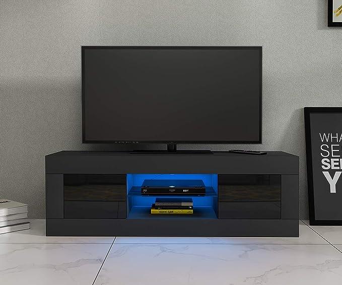 Panana TV Board Lowboard Fernsehschrank schwarz Hochglanz 125 x 35 x 40cm inkl. Mehrfarbiges LED