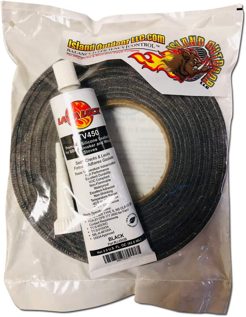 LavaLock Self Stick Kit 1//2 x 1//8 Grey BBQ Smoker Gasket Black RTV Grill Sealer Hi-Temp