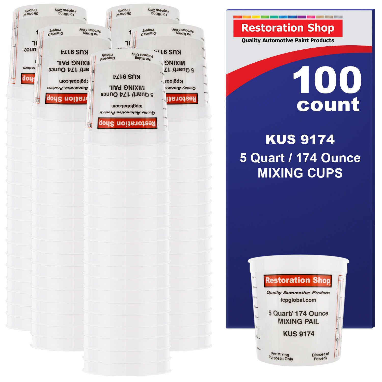 BOX of 100 each - 160 Ounce PAINT MIXING CUPS = 5 QUART Bucket) by Restoration Shop - Cups have calibrated mixing ratios on side of cup BOX of 100 Paint and Epoxy Mixing Cups