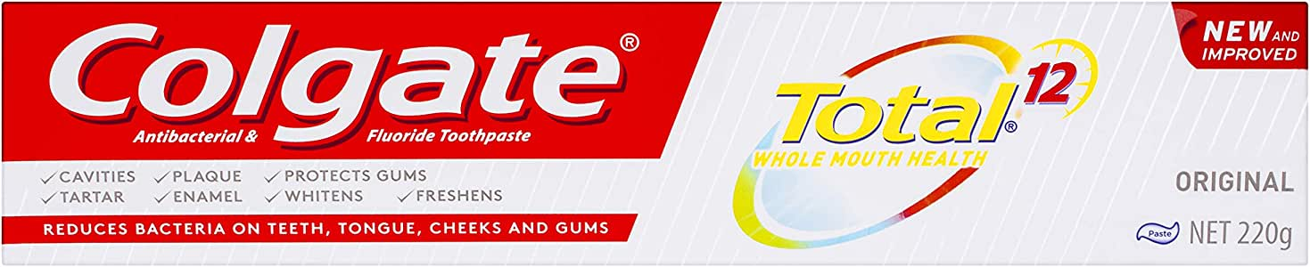Colgate Total Original Antibacterial Fluoride Toothpaste New and Improved, 220 grams