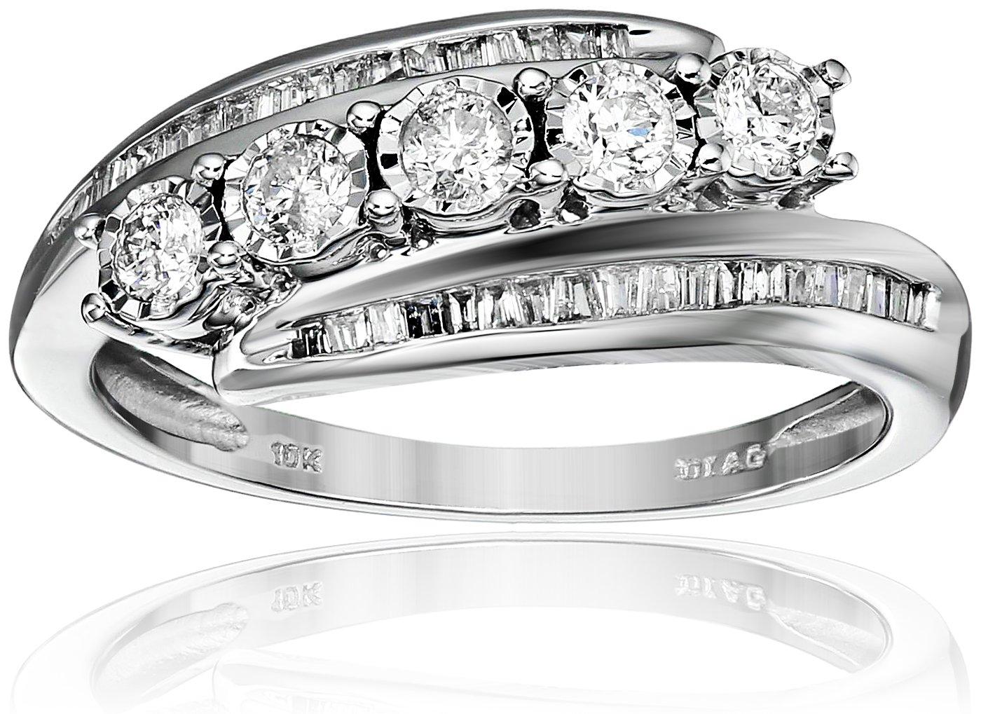 10k White Gold Diamond Slant Anniversary Ring (1/2cttw, I-J Color, I2-I3 Clarity), Size 7
