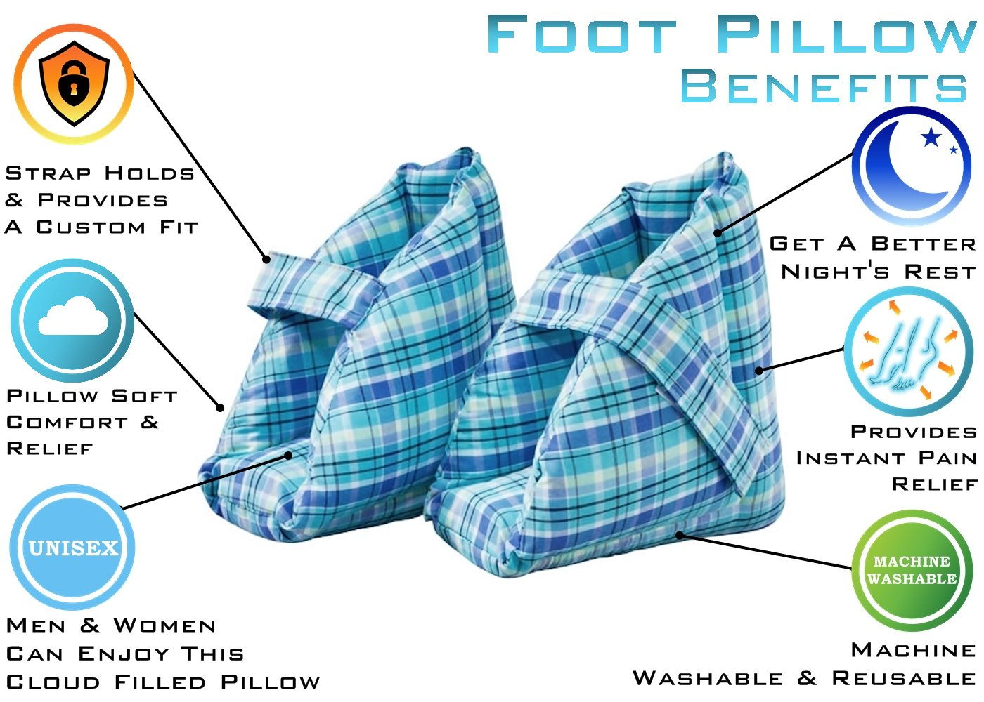 Foot Pillows, Heel Protectors, Heel Cushions, Heel Protection, Effective Pressure Sore and Heel Ulcer Relief, Great for Swollen Feet, Comfort Heel Protection Foot Pillows, One Pair, Plaid