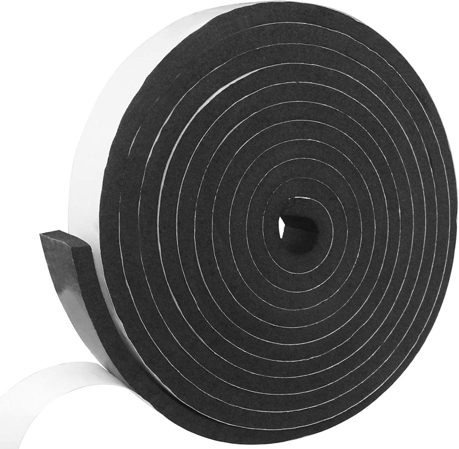 Weather Stripping Door Seal Strip Flame Retardant Slow Rebound Foam Insulation Tape Self Adhesive for Doors and Windows (W:1 in x T:2/5 in x L:16 Ft)