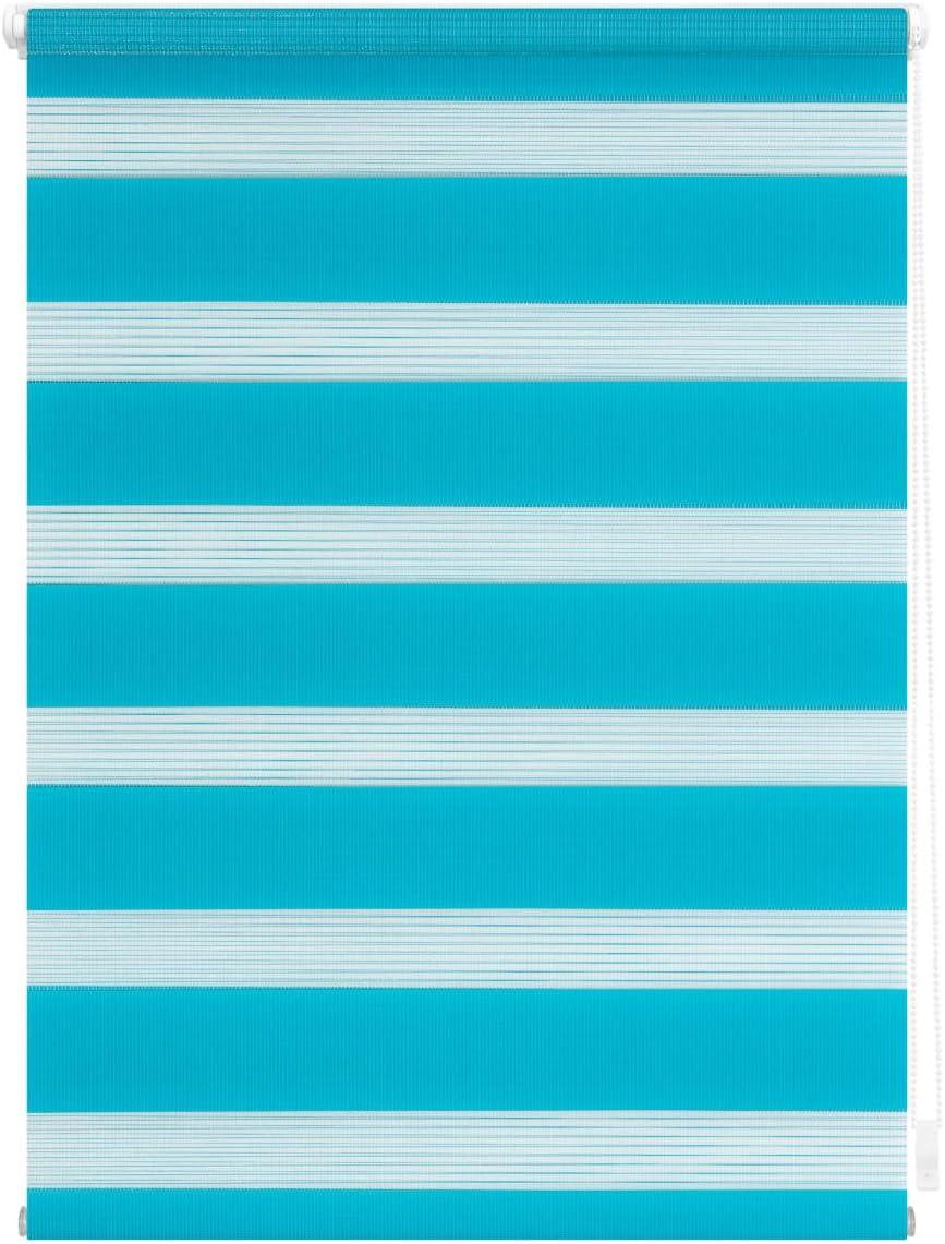 Wohn-Guide con staffe a Morsetto Fissaggio Senza Fori Colore: Blu Moderno 100 cm x 150 cm Blu B x L Tenda avvolgibile Doppia