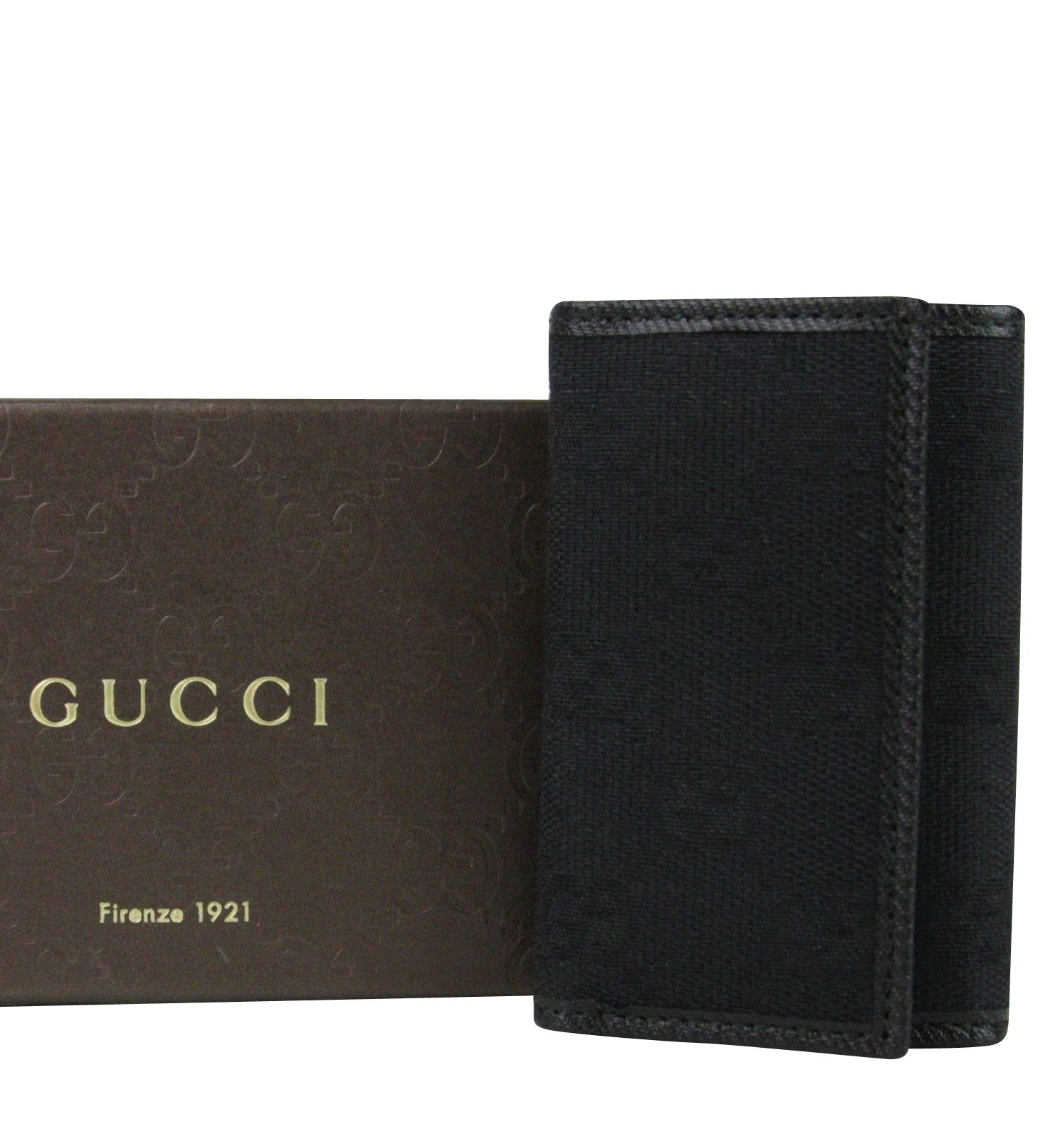 Gucci Unisex Trifold Black GG Canvas Key Chain Ring Holder 04564R 1000