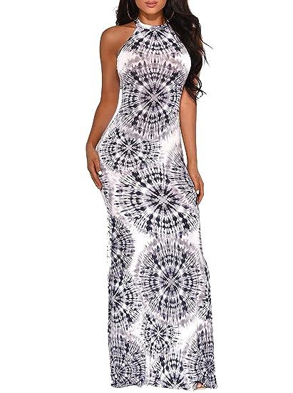 9f3a501987e85 Womens Sexy Bodycon Long Dresses - Halter Sleeveless Floral Print Warp Top  Slim Fit Summer Beach Dresses